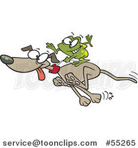 Cartoon Frog Riding on a Running Dog by Toonaday