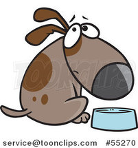Cartoon Hungry Brown Dog Looking over His Shoulder by a Dish by Toonaday