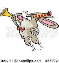 Cartoon New Year Party Rabbit Blowing a Horn by Toonaday