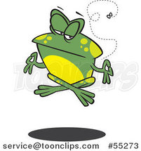 Cartoon Floating Meditating Frog and Fly by Toonaday