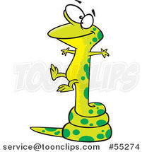 Cartoon Lizard Balanced on a Long Tail by Toonaday