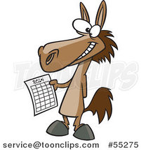 Cartoon Happy Horse Holding a 2014 New Year Calendar by Toonaday