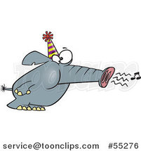 Cartoon Party Elephant Blowing His Trunk like a Horn by Ron Leishman
