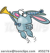 Cartoon Blue New Year Party Rabbit Blowing a Horn by Toonaday