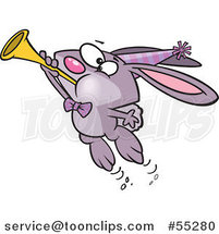 Cartoon Purple New Year Party Rabbit Blowing a Horn by Toonaday