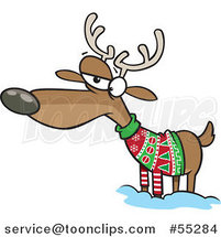 Cartoon Unhappy Reindeer in an Ugly Christmas Sweater by Toonaday