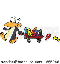 Cartoon Penguin Pulling Numbers in a Wagon by Toonaday