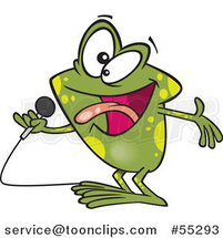 Cartoon Karaoke Frog Singing by Ron Leishman