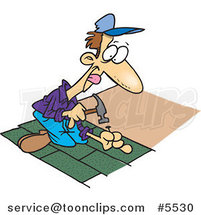 Cartoon Roofer Nailing Shingles by Ron Leishman