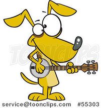 Cartoon Musician Dog Playing a Banjo by Ron Leishman