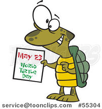 Cartoon Happy Tortoise Holding a May 23 World Turtle Day Calendar by Ron Leishman