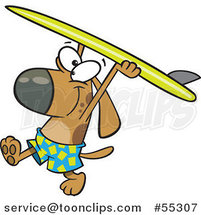 Cartoon Surfer Dog Walking with His Board over His Head by Ron Leishman