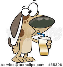 Cartoon Dog Drinking a Latte by Ron Leishman