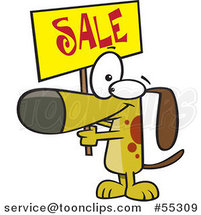 Cartoon Dog Holding up a Sale Sign by Ron Leishman
