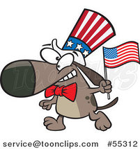 Cartoon Patriotic American Dog with a Flag by Ron Leishman