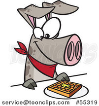 Cartoon Pig Eating a Waffle by Ron Leishman
