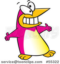 Pink Cartoon Welcoming Penguin with Open Arms by Toonaday