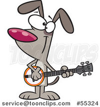 Cartoon Happy Musician Dog Playing a Banjo by Ron Leishman