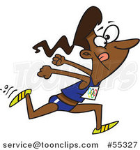 Cartoon Black Track and Field Lady Sprinting by Ron Leishman