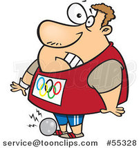 Cartoon Olympic Track and Field Shotput Athlete Guy Dropping the Ball on His Foot by Ron Leishman