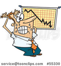 Cartoon Stressed Businessman Viewing a Recession Chart by Ron Leishman