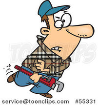 Cartoon Plumber Carrying a Wrench and Rolling up His Sleeves by Ron Leishman