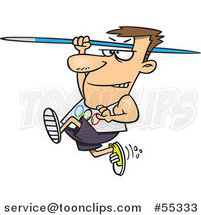 Cartoon Olympics Track and Field Javelin Thrower Guy by Ron Leishman