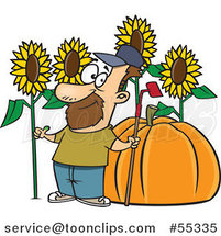 Cartoon Green Thumb Farmer with Sunflowers and a Giant Pumpkin by Toonaday