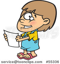 Cartoon Happy Girl Holding a Report by Ron Leishman