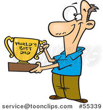 Cartoon Father Proudly Holding a Worlds Best Dad Trophy Cup by Toonaday