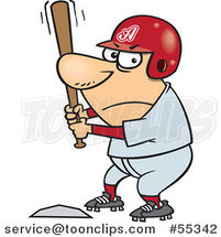 Cartoon Aggressive Baseball Player Batting at Home Base by Ron Leishman