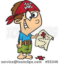 Cartoon Pirate Boy Holding a Map over the X on the Ground by Ron Leishman
