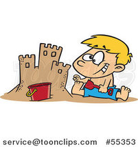 Cartoon Boy Making a Sand Castle on a Beach by Ron Leishman