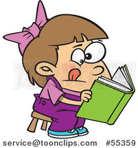 Cartoon Girl Trying to Decipher Information in a Book by Ron Leishman
