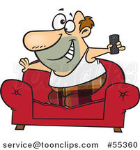 Cartoon Couch Surfer Guy Standing on His Sofa with a TV Remote Control by Ron Leishman
