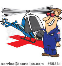 Cartoon Proud Helicopter Pilot Guy Standing by His Chopper by Toonaday