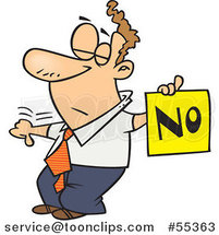 Cartoon Displeased Guy with a Thumb down Holding a NO Sign by Ron Leishman
