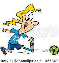 Cartoon Girl Kicking a Soccer Ball by Ron Leishman