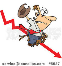 Cartoon Business Man Riding a Downwards Arrow like a Cowboy by Ron Leishman
