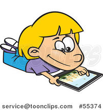 Cartoon Blond Girl Using an IPad Tablet Computer by Ron Leishman