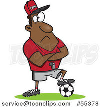 Cartoon Black Coach Guy Resting a Foot on a Soccer Ball by Ron Leishman