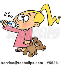 Cartoon Girl Holding Her Teddy Bear and Brushing Her Teeth Before Bedtime by Ron Leishman