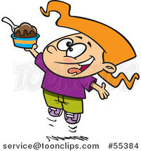 Cartoon Happy Girl Jumping with an Ice Cream Sundae by Ron Leishman