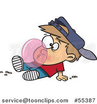 Cartoon Boy Blowing a Bubble with Chewing Gum by Ron Leishman