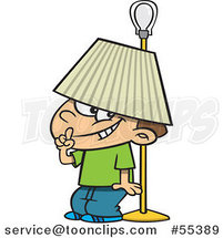 Cartoon Boy Hiding Under a Lamp Shade by Ron Leishman