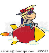 Cartoon School Boy Riding on a Rocket by Ron Leishman