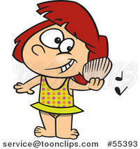 Cartoon Girl Listening to a Shell Play Music on a Beach by Ron Leishman