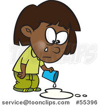 Cartoon Black Girl Crying over Spilled Milk by Toonaday