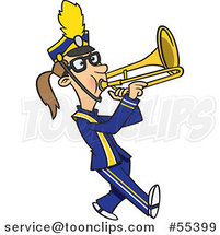 Cartoon Marching Band Trombone Player Girl by Ron Leishman