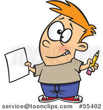 Cartoon Happy Boy Holding a Sheet of Paper and a Pencil by Ron Leishman